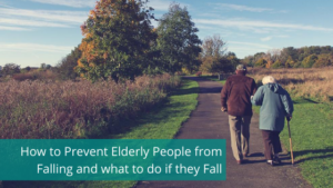 Elderly couple walking with walking stick