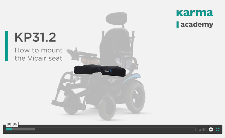 How to mount and adjust the Vicair seat cushion on the wheelchair